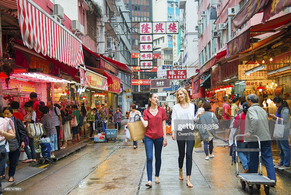 Young Woman Shopping in Hong Kong : Stock Photo