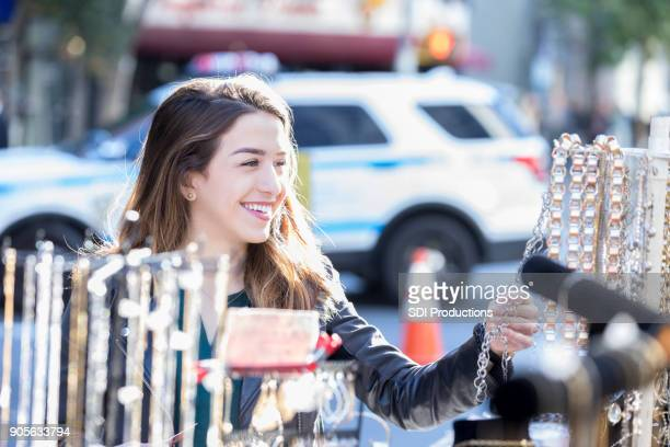Young woman shops in New York City