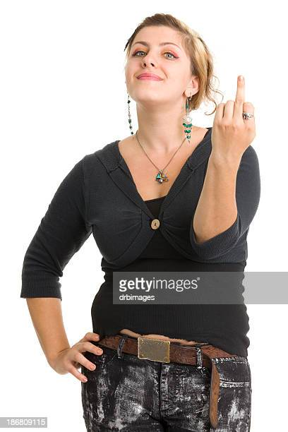 young woman shows middle finger - sneering stock pictures, royalty-free photos & images