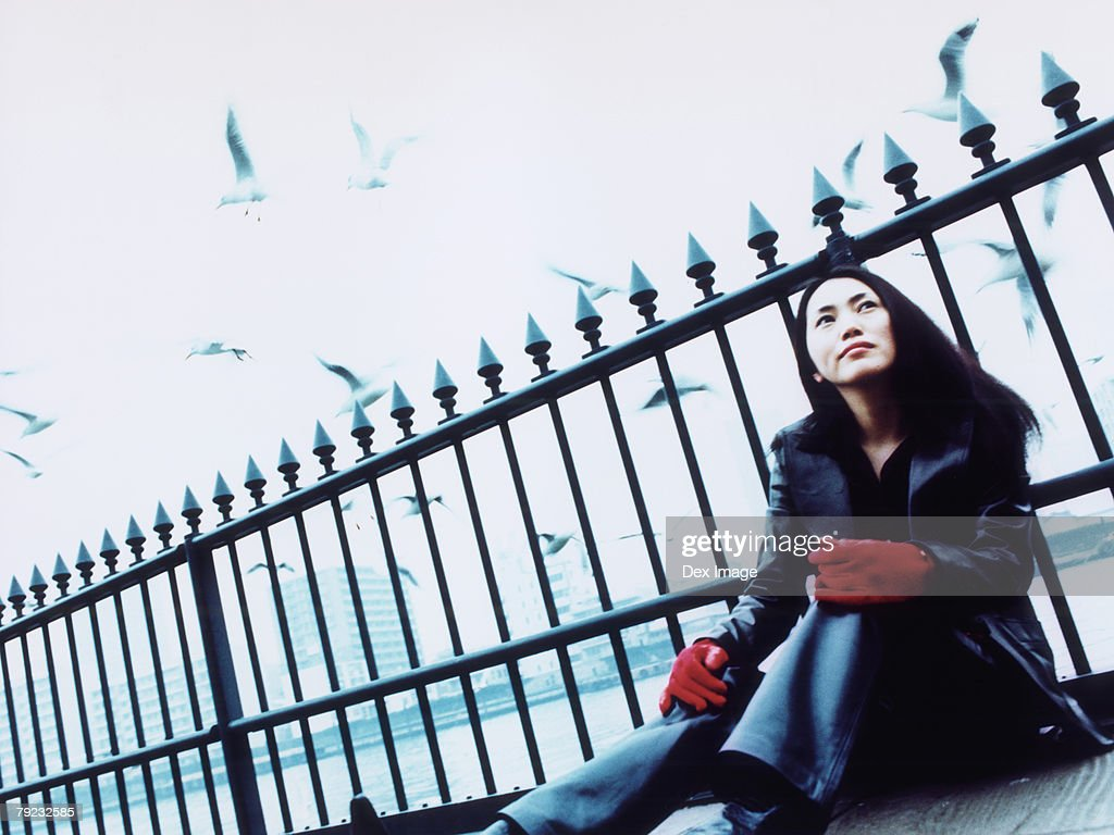 Young woman sitting against railing, Tokyo city in background, a flock of seagulls : Stock Photo