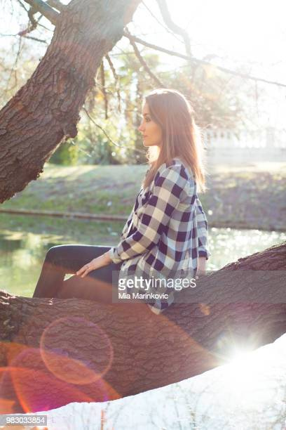 a young woman sitting in a tree. - mia woods photos et images de collection