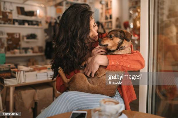 young woman sitting in cafe with her dog - pet adoption stock pictures, royalty-free photos & images