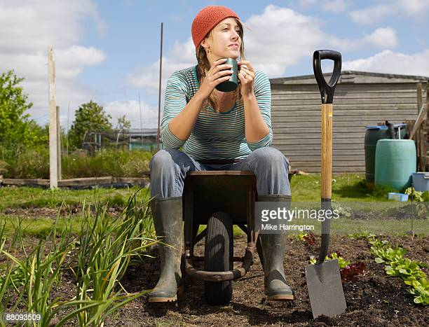 Young woman sitting in wheelbarrow in allotment