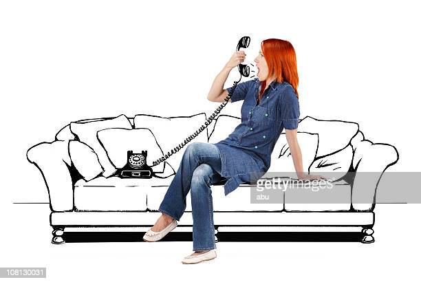 Young Woman Sitting on Cartoon Couch and Yelling into Telephone