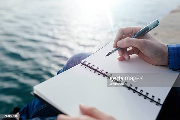 young woman sitting on dock writing in notebook - tagebuch stock-fotos und bilder