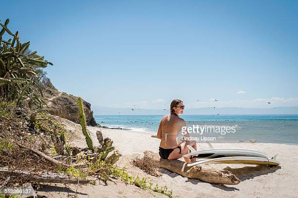Young woman sitting on driftwood at beach, surfboard by her side