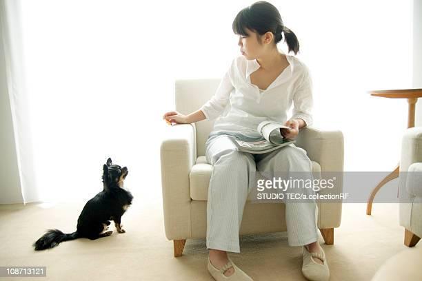 Young woman sitting on sofa looking at Chihuahua