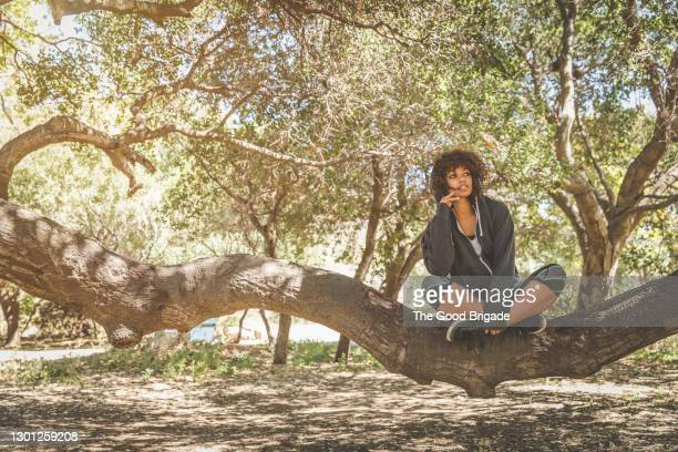 young woman sitting on tree trunk in forest - branch stock pictures, royalty-free photos & images