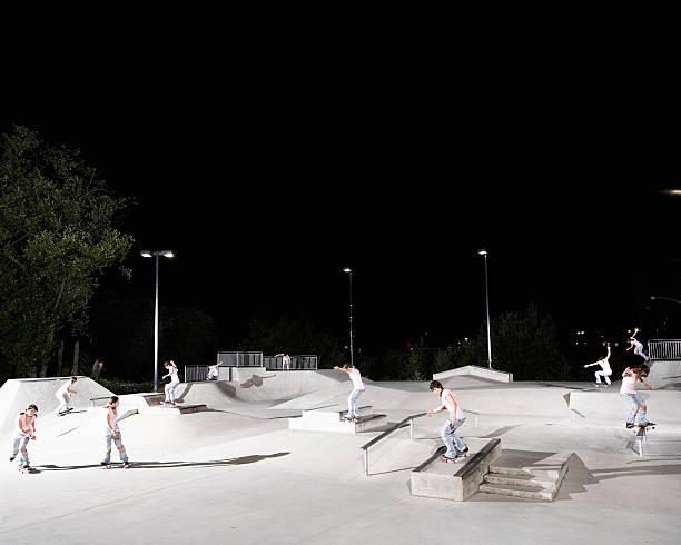 Young Woman Skateboarding On Skateboard Park Wall Art
