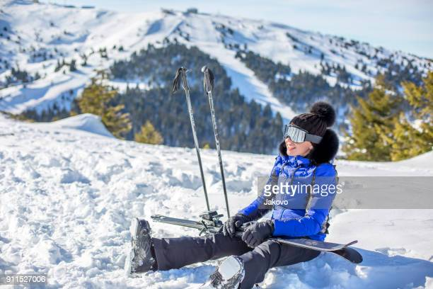 young woman skiing - winter sport stock pictures, royalty-free photos & images