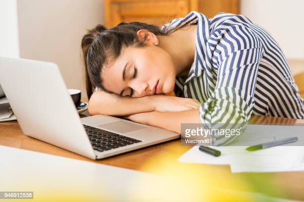 young woman sleeping in front of her laptop at home - exhaustion stock pictures, royalty-free photos & images
