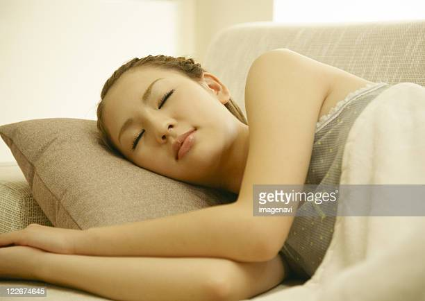 A young woman sleeping