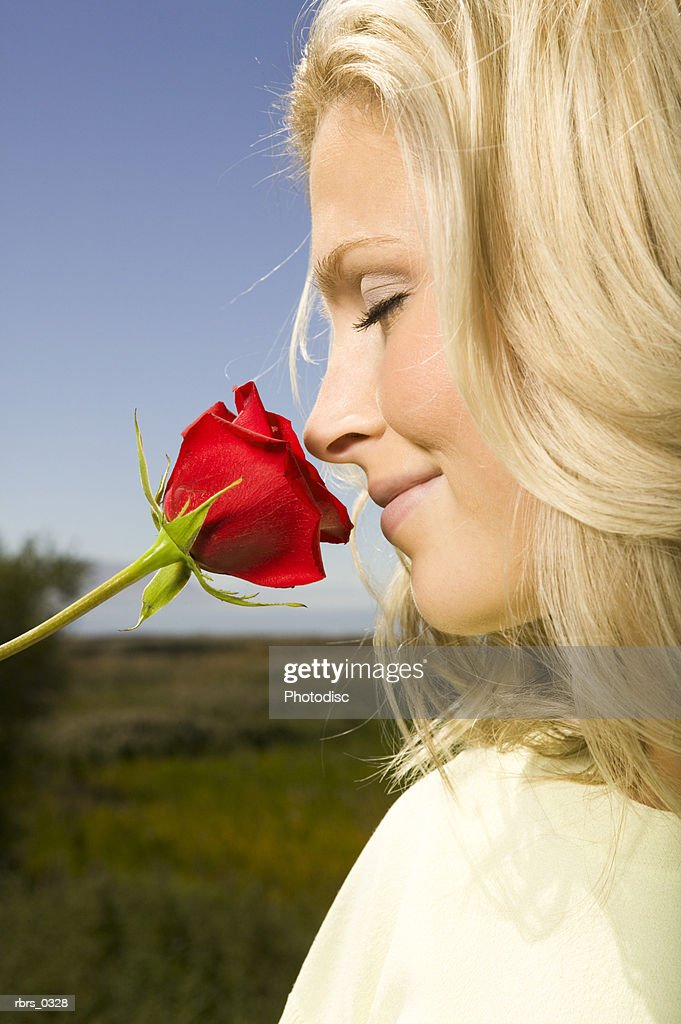 Young woman smelling a rose : Stockfoto