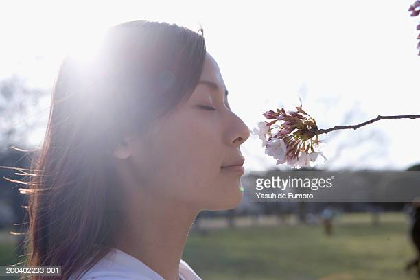 Young woman smelling cherry blossom, eyes closed, side view