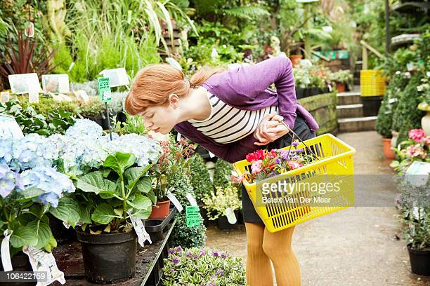 Young woman smells flower in garden centre.