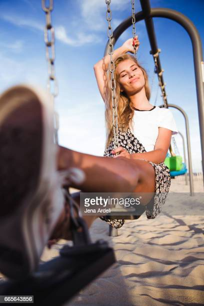 Young Woman Smiling At Playground