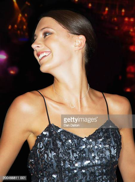 young woman smiling, close-up - spaghetti straps stock pictures, royalty-free photos & images
