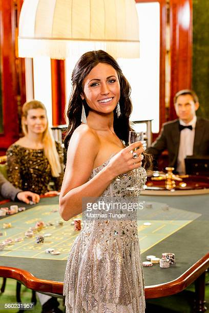 Young woman smiling in a casino