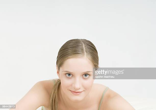 young woman smiling - hair part stock pictures, royalty-free photos & images