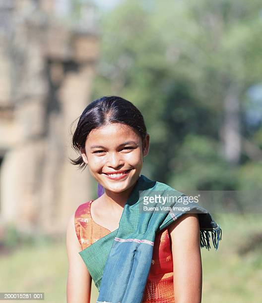 young woman smiling, portrait - traditionally cambodian stock pictures, royalty-free photos & images