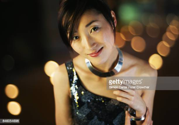 young woman smiling, portrait (digital composite) - evening wear stock pictures, royalty-free photos & images