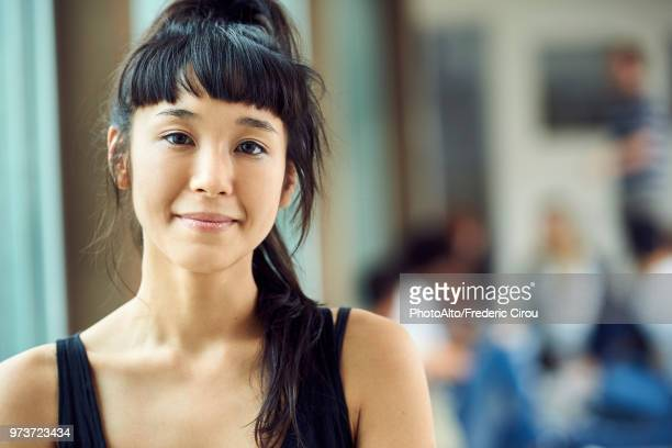 young woman smiling, portrait - bangs stock pictures, royalty-free photos & images