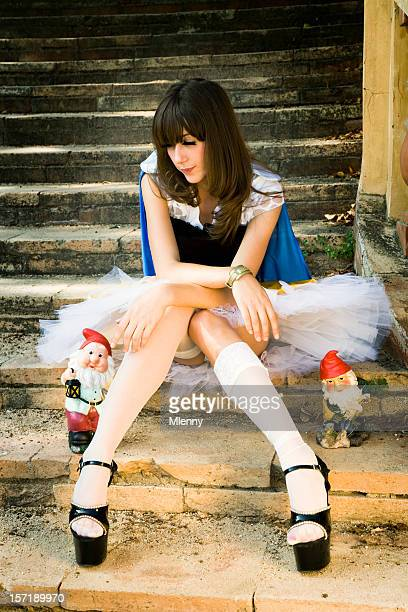 young woman snow white - snow white stock photos and pictures