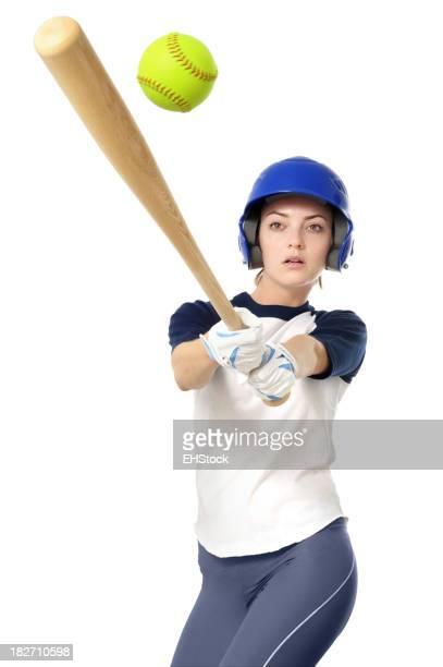 Jovem Jogador de Softbol isolado em fundo branco