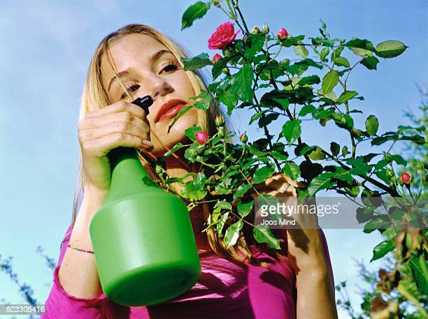 Young Woman Spraying Roses in Garden