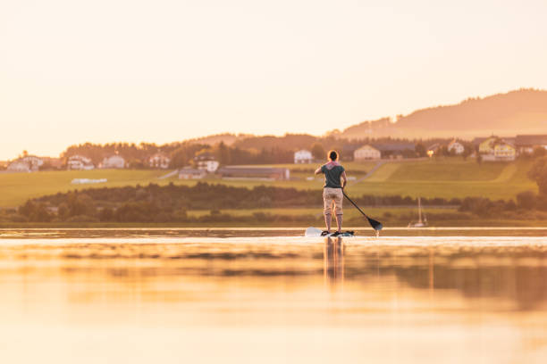Young Woman Stand Up Paddling At Sunset, Lake Wallersee, Austria