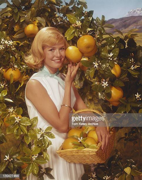 young woman standing beside orange tree holding orange basket, smiling, portrait  - orange blossom stock photos and pictures