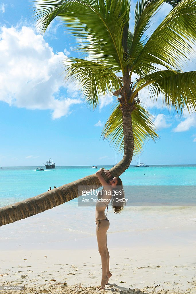 Young woman standing by palm tree on beach stock photo getty images young woman standing by palm tree on beach stock photo voltagebd Image collections
