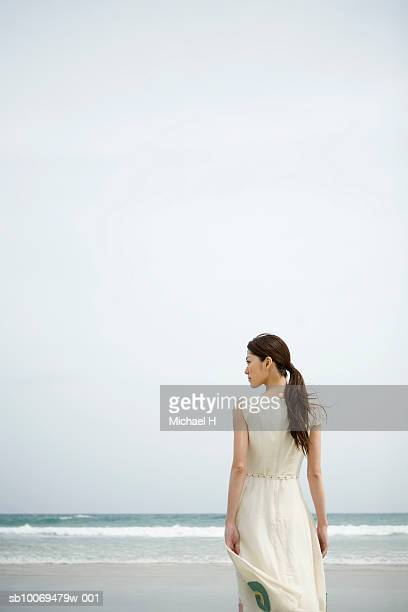 young woman standing on beach, rear view - schwarzes haar stock-fotos und bilder