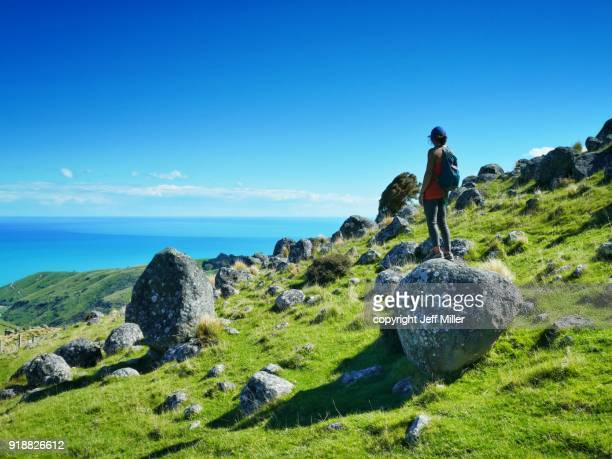 Young woman standing on boulder looking out to sea, Banks Peninsula, New Zealand.