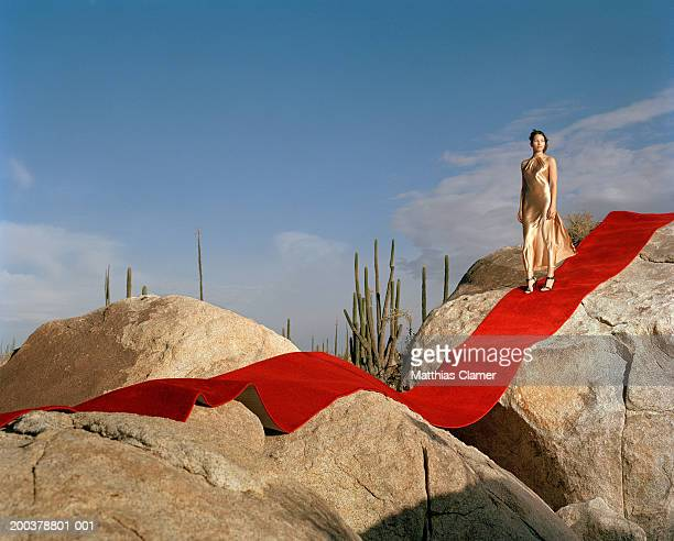 young woman standing on red carpet laid on rocks, looking to side - abendkleid stock-fotos und bilder