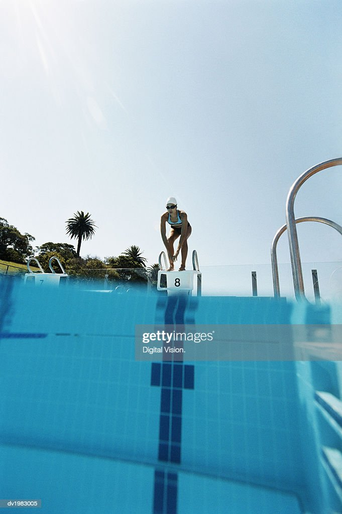 Young Woman Standing on Starting Blocks at the Edge of a Swimming Pool : Stock Photo