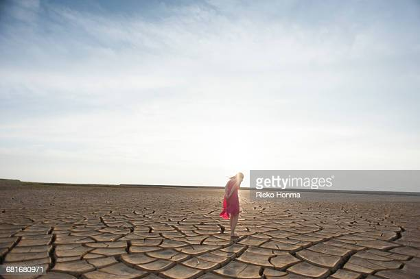 Young woman standing on the dry land