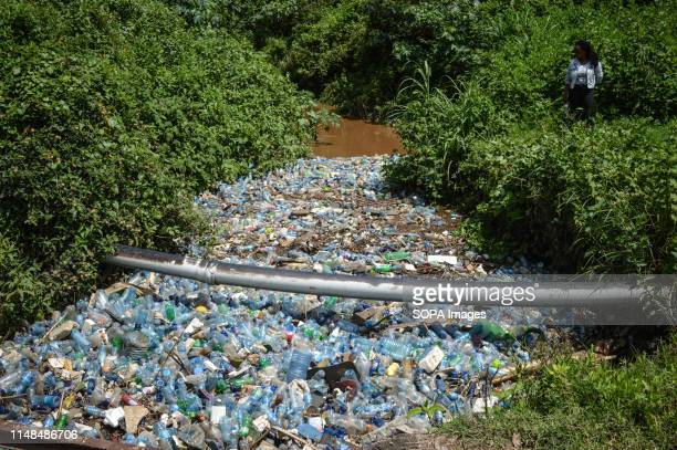 A young woman stands next to Njoro River clogged with thousands of plastic bottles among other kinds of trash The River that empties its contents...
