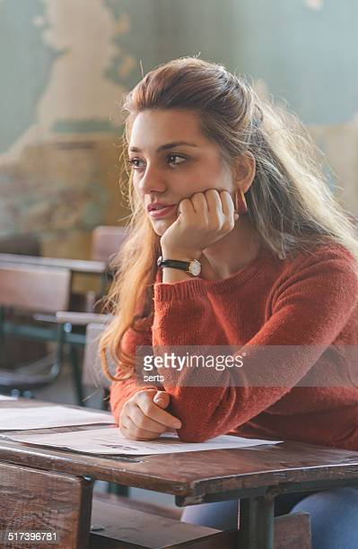 Young woman student thinking
