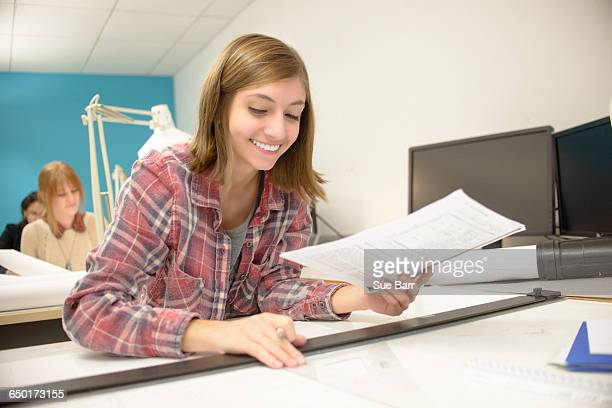 Young woman studying at community college