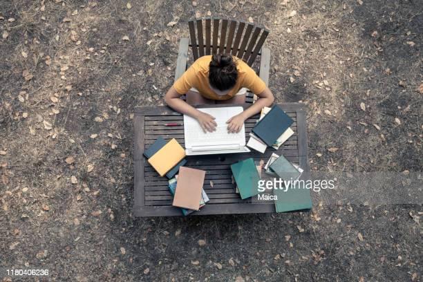jonge vrouw die in de tuin studeert - correspondentie stockfoto's en -beelden