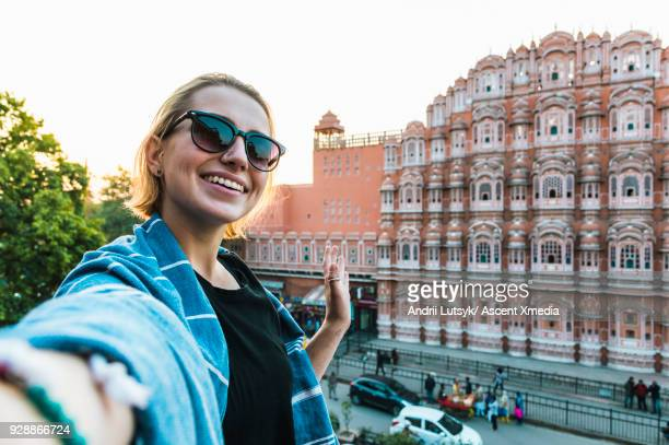 young woman takes selfie with the hawa mahal - one young woman only stock pictures, royalty-free photos & images