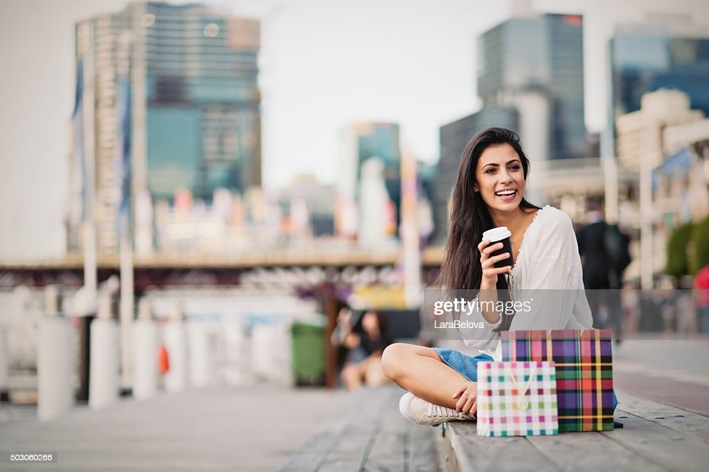 Young woman taking a coffee break, Sydney : Stock Photo