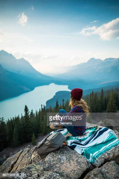 A young woman taking in a scenic view.