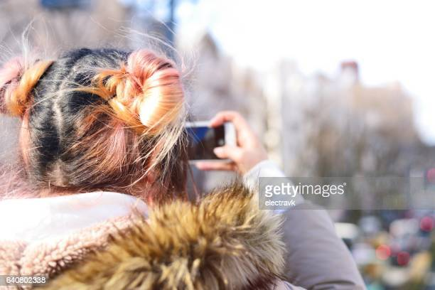 young woman taking photo - turkmenistan stock pictures, royalty-free photos & images