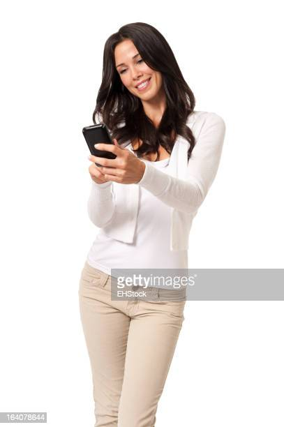 Young Woman Texting with Mobile Phone Isolated on White Background
