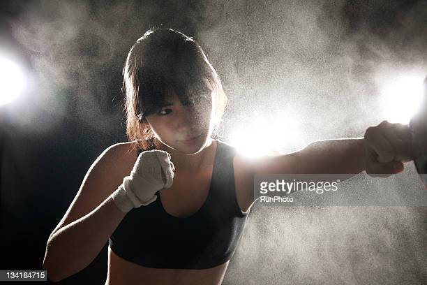 young woman training,boxing