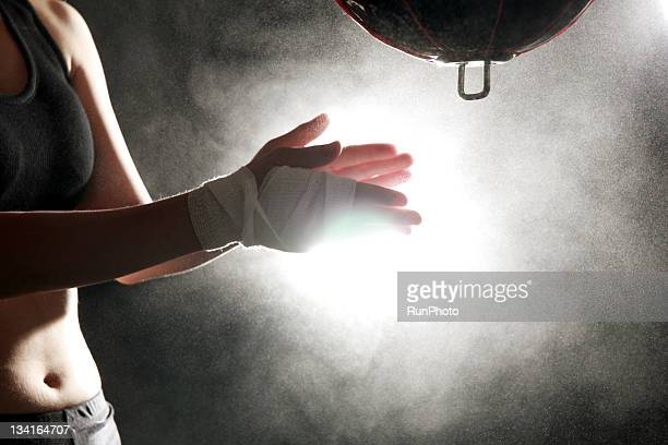 young woman training,boxing,hands close-up - combat sport stock pictures, royalty-free photos & images