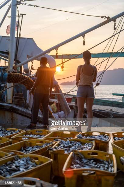 young woman traveling and exploring fishing vessels docked in kota kinabalu, malaysia - kota kinabalu stock pictures, royalty-free photos & images