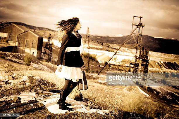 Young Woman Traveling Through Copper Mine